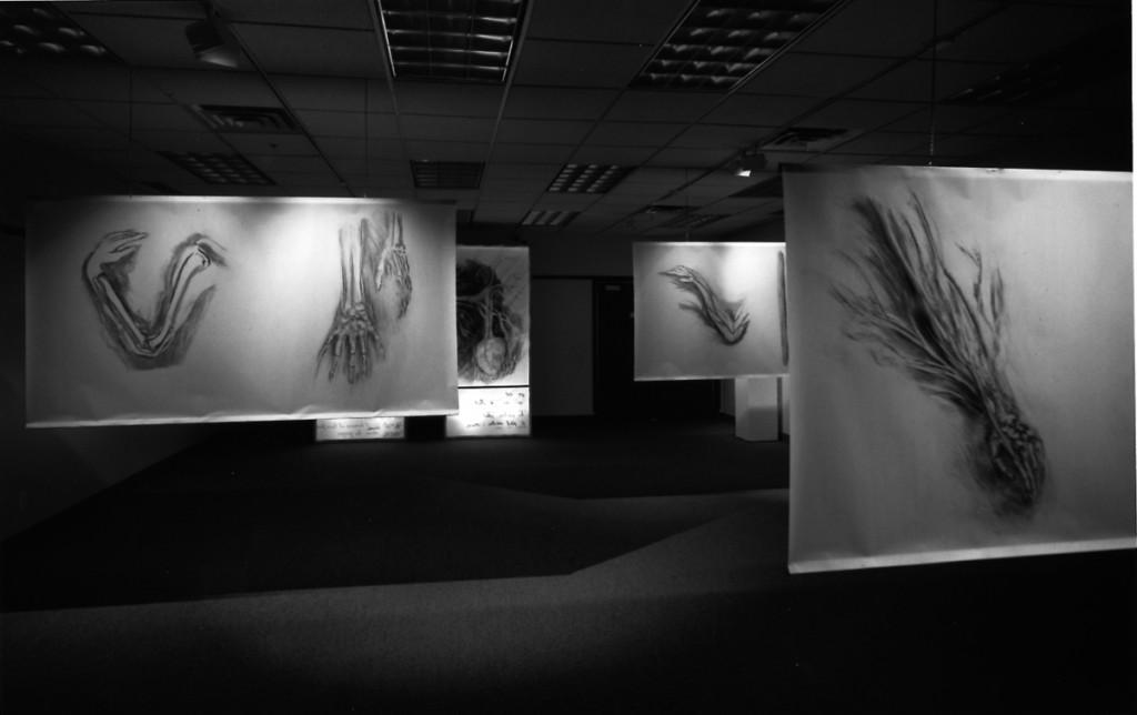 Le Crache-Cœur 2, 1995, Centre du Gésù, fusain, sanguine, acrylique sur géofilm, 240cm/120cm x 6
