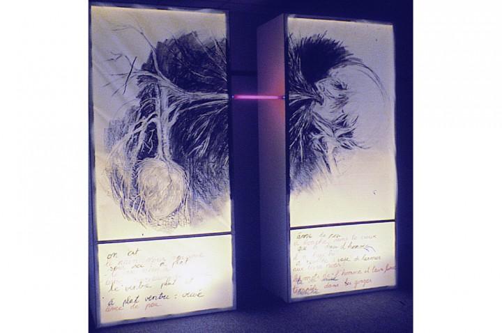 Le Crache-Cœur 1, 1995, f Centre du Gésù, fusain, sanguine, laque sur géofilm, bois, néons (boîtier), 220cm/80cm/50cm x 2